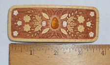 """LARGE 3 1/2"""" BIRCH BARK HAIR BARRETTE WITH AMBER CENTER STONE - MADE IN RUSSIA"""