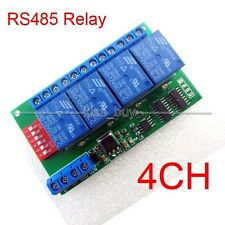 DC 12V 4CH RS485 Relay Board Modbus RTU AT command Switch Module PLC LED Motor