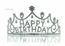 Dangling Rhinestone Crystal Happy Birthday Tiara Crown w/ Comb gift for her