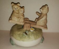 Vintage Porcelain Bears / Cubs On Seesaw Animated Music Box