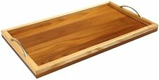 HANDMADE WOODEN SERVING KITCHEN TRAY WITH HANDLES  WOOD NATURAL FOOD TEA CARRIER