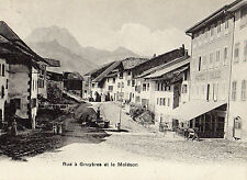 OLD POSTCARD - SWITZERLAND - Rue a Gruyeres et le Moleson - C P N 2524 - 1907