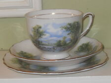 COLCLOUGH LAKE SCENE TRIO TEA CUP SAUCER AND PLATE GREENS BLUES BONE CHINA