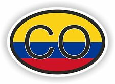 CO Colombia COUNTRY CODE OVAL WITH FLAG STICKER bumper decal car bike tablet