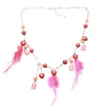 Bahama Mama-red/orange Beads Crystal Charm/pink Feather Chrome Necklace(Zx203)