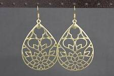 gold cut out filigree teardrop medallion disc dangle earrings 2.75 inches long