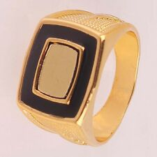 High Quality Men's 14K Gold Plated US Size 12 Emerald Carving Ring Jewelry D404