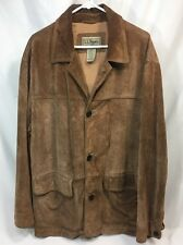 VTG LL Bean Mens Light Brown Genuine Leather Suede Barn Coat LARGE Turkey EUC