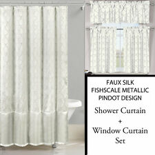Ivory White Shower Curtain and 3 Pc Window Curtain Set: Metallic Raised Pin Dots