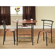 Kitchen Bistro Set 3 Piece Dining Slim Espresso Color Space Saving Table Chairs