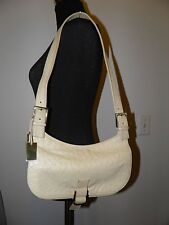 Vintage Gucci Cream Ostrich Skin Leather Shoulder Bag Made in Italy