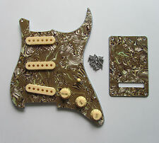 Strat/ST Pickguard Trem Cover Boa Stripe w/ Cream Pickup Covers Knobs Swtich Tip