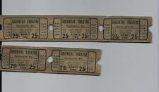 Vintage lot Oriental 25c Theatre Tickets Rochester Pa BORO TAX OLD FREE SHIPPING