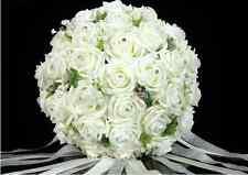 New Wedding Bridal Bouquet Rose Crystal Pearl Bridesmaid Flowers Posy Handmade