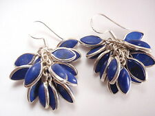 Lapis Lazuli Cluster Dangle Earrings 925 Sterling Silver Corona Sun Jewelry