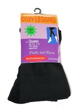 Fleece-Lined Leggings Black Opaque Footless Winter Warm Adult Ladies Queen Size
