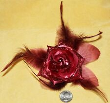 Red Flower Glitter Hippie Boho Feather Tribal Belly Dance Dancing Hair Clip Pin