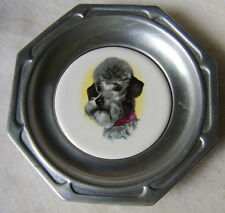 Pewter Wine Bottle Coaster with Porcelain Poodle Insert by Craft American #12000