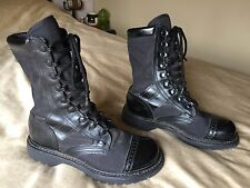 womens 8 M Corcoran black leather canvas cap toe military jump punk boots 8.5 9