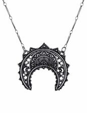 Restyle Henna Moon Crescent Antique Silver Occult Witch Necklace