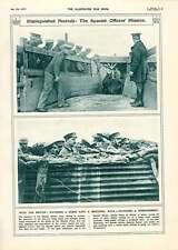 1917 ufficiali SPAGNOLI cavallo medicina bagno BOMBARDAMENTO FERROVIE Illustrazione