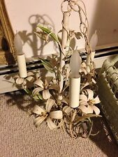 Vintage 60s Shabby Italian Chic Tole Floral White Lilies Chandelier 3 Light Lamp