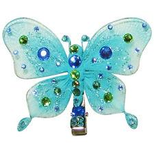 Tarina Tarantino Aqua Tulle Butterfly Anywhere Hair Clip Blue Swarovski Crystals