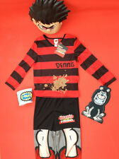 Beano Dennis The Menace Fancy Dress Outfit complete outfit Age 7/8  face mask