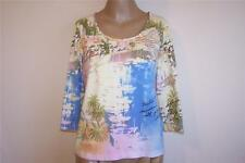 CHICOS Sz 1 Shirt Top Spandex Stretch Postcard Tropical Boats 3/4 Sleeve S 8/10