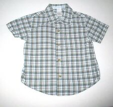 "BOYS JANIE AND JACK ""FLIGHT SCHOOL"" BLUE & YELLOW PLAID S/S SHIRT SIZE 3-6 MONTH"