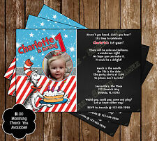 Dr Seuss - Cat in the Hat - Birthday Invitations - 15 Printed W/envelopes