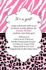 30 Jungle Invitation Cards Baby Girl Shower Personalized Zebra Leopard Pink