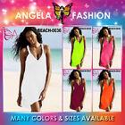 Angela New Sexy Beach Party Solid Plain Summer Women Short Dress Size M-5XL UK