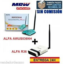 PACK ADAPTADOR WIFI ALFA AWUS036NH + ROUTER ALFA R36.KIT WIFI RECIBE/COMPARTE