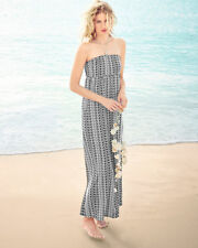Garnet Hill - NIP $98 - XS - B&W Ikat Tribal Print Strapless Knit Maxi Dress