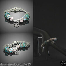 925 Silber plated Armband mit Charms Bettelarmband Swarovski Element Etui /CA12