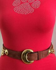 VINTAGE ESCADA Brown Suede Leather With Gold Hardware Belt