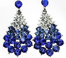 exklusive Ohrringe Ohrstecker Waterdrops blau brillant funkelnd Strass Silber
