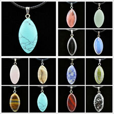 Wholesale lots 12pcs Fashion Natural stone Oval Pendants Necklace Christmas Gift