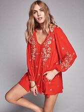 139356 NWT $148 Free People Sweet Tennessee Embroidered Cutout Mini Dress M