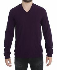 NWT $500 DOLCE & GABBANA Purple Rayon Logo V-neck Sweater Pullover Top IT44/ XS
