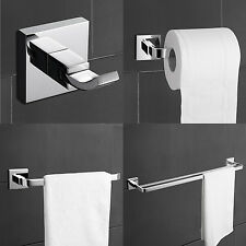 Modern Brass Chrome Finish Bathroom Accessory Sets, 4-Piece Bathroom Hardware