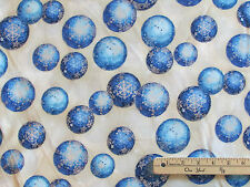 Radiant Holiday Blue Ornament Kaufman Christmas Fabric by the 1/2 Yrd #15166-254