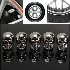5pcs Car Skull Auto Wheel Tyre Tire Stem Air Valve Caps Dust Covers