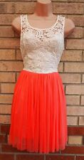 AMBER KRYSTAL CREAM CROCHET ORANGE MESH TUTU PROM PARTY SKATER A LINE DRESS M 12