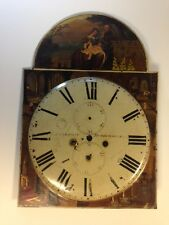 grandfather clock face hand paintedsigned Richardson Huddersfield England 19th c