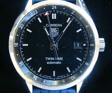 TAG HEUER WW2115 MILITARY TWIN TIME CARRERA AUTO GMT BOX SET SHARK WATCH STRAP