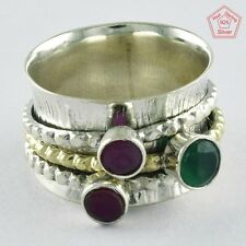 PRETTY MULTI STONE TWO TONE 925 STERLING SILVER SPINNER RING Sz.8.5 US RN4384