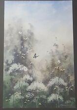 Wall hanging Original Butterfly flower water color painting with signature