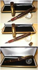 Celluloid / Ebanite fountain pen HandMade Stylo RUSSET BROWN PEARL button-filler